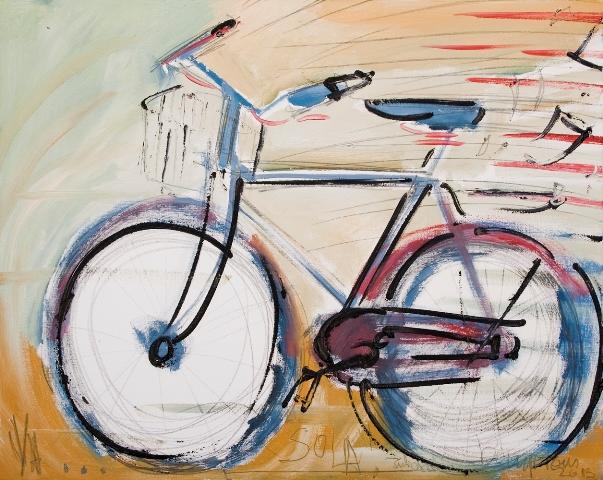 """""""En bici y a lo loco"""" Ocho artistas y un referente común"""